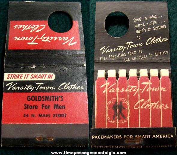 Old Unused Varsity Town Clothes Advertising Match Book with Printed Matches