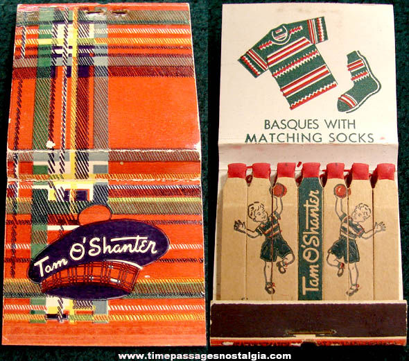 Old Unused Tom O'Shanter Clothing Advertising Match Book with Printed Matches