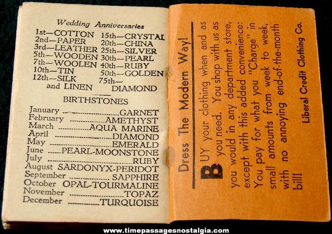 Unused 1935 Liberal Credit Clothing Store Advertising Premium Calendar Memo Note Pad Booklet