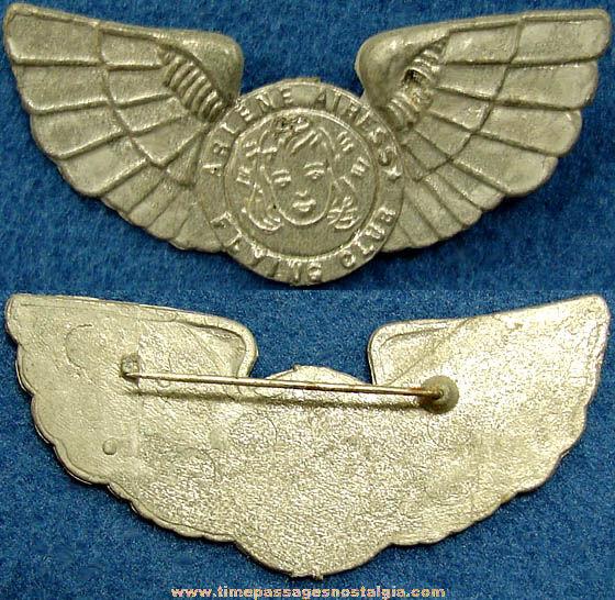 Old Metal Arlene Airess Flying Club Membership Wings Pin
