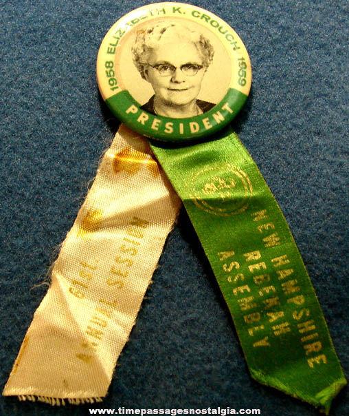 1958 - 1959 Rebekah Assembly President Celluloid Pin Back Button Ribbon Photo Badge