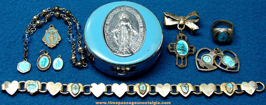 (9) Old Blue Enameled Virgin Mother Mary Christian or Catholic Religious Jewelry Items