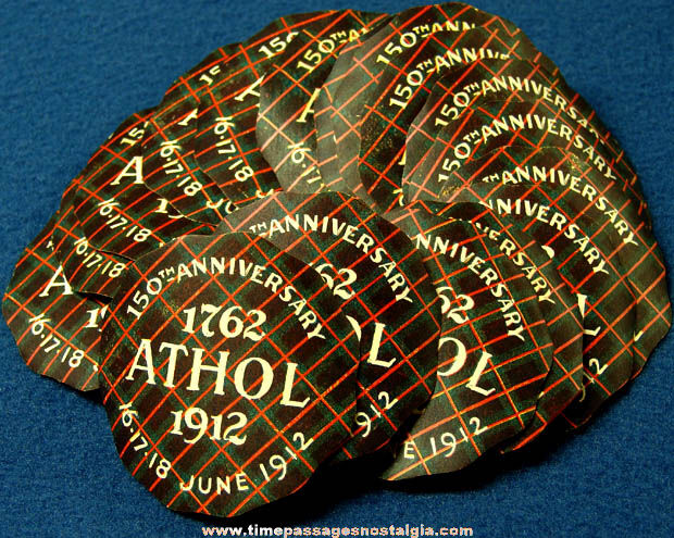 (17) Unused 1912 Athol Massachusetts 150th Anniversary Celebration Paper Decal Stickers