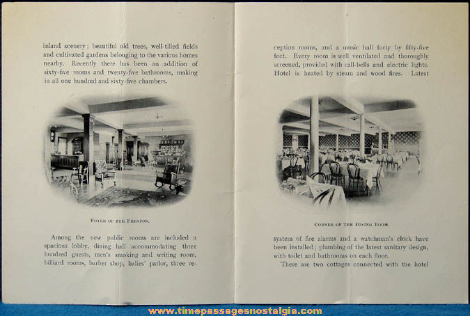 Old Hotel Preston Beach Bluff Massachussets Advertising Souvenir Booklet