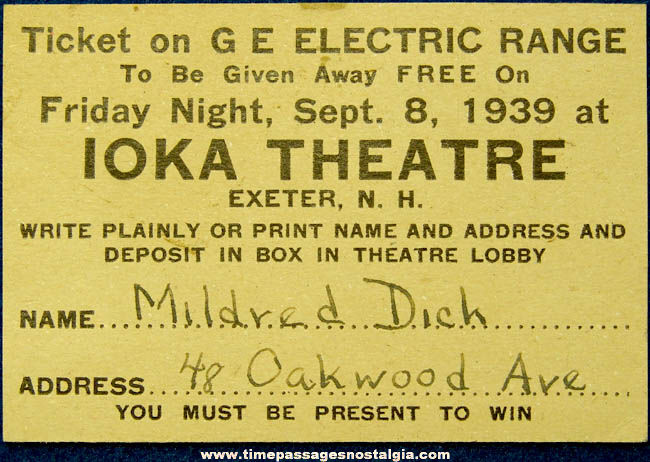 1939 Ioka Theatre Exeter New Hampshire Advertising Contest Prize Ticket