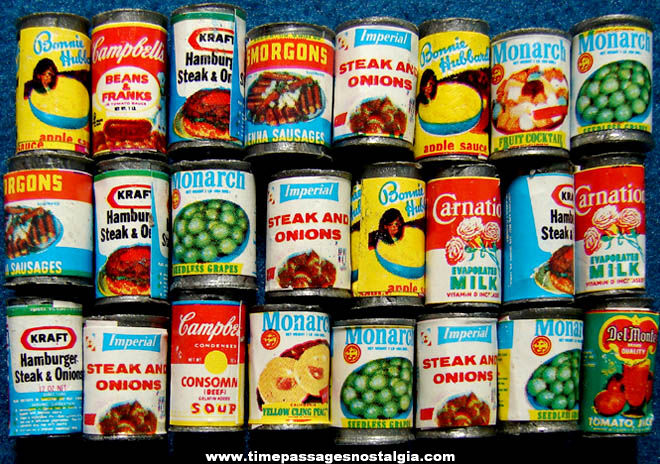 24 Colorful Doll House Miniature Cans Of Food Products Tpnc