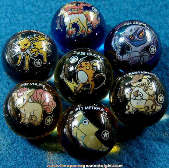 (7) Different Pokemon Character Glass Game Marbles