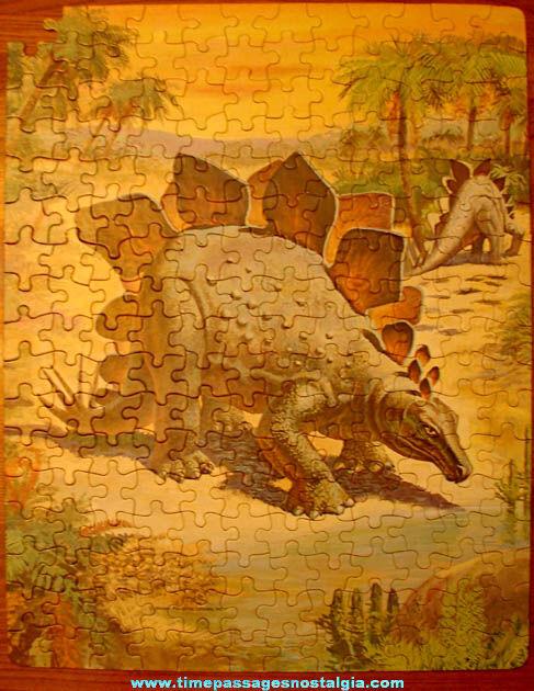 Colorful ©1975 Boxed Whitman Stegosaurus Dinosaur Jigsaw Puzzle
