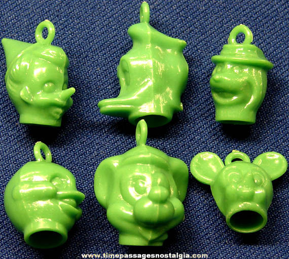 (6) Old Walt Disney Cartoon Character Gum Ball Machine Prize Toy Pencil Topper Charms