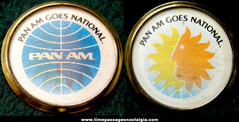 Old Unused Pan American World Airways Advertising Premium Flicker Pin Back Button