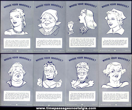 (32) ©1946 Who's Your Whoosis For Men Exhibit Supply Arcade Cards