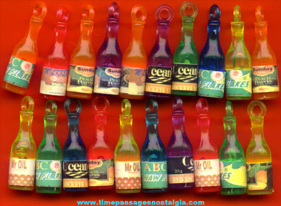 (20) Old Gum Ball Machine Prize Bottle Toy Charms