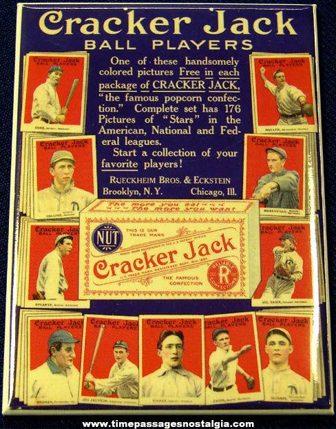 Colorful 1915 Cracker Jack Baseball Card Sign Advertising Premium Magnet