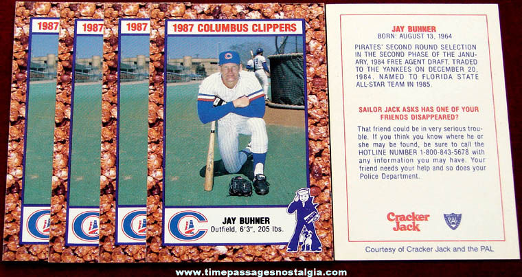 (5) 1987 Columbus Clippers Jay Buhner Cracker Jack Baseball Cards