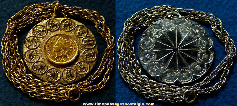 Old Metal Astrology Zodiac Necklace Pendant & Chain