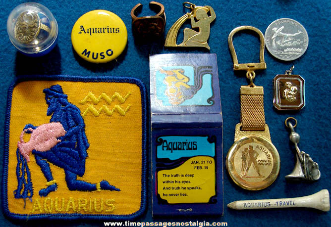 (11) Different Small Old Aquarius Astrology Zodiac Items