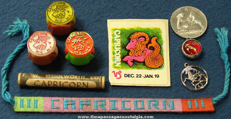 (9) Different Small Old Capricorn Astrology Zodiac Items