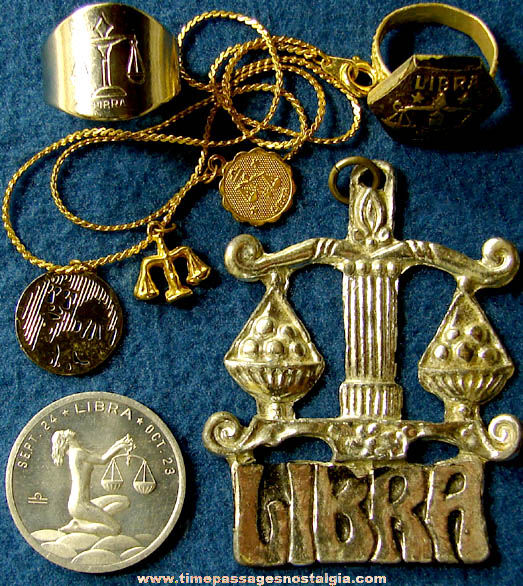 (7) Different Small Old Libra Astrology Zodiac Items