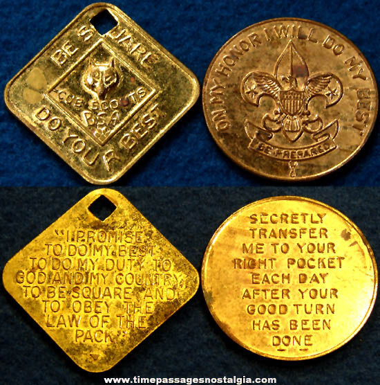 (2) Old Cub Scout and Boy Scout Advertising Token Coins