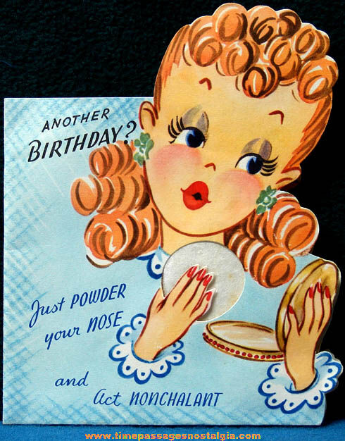 Colorful Old Lady With Make Up Pop Up Birthday Greeting Card Tpnc