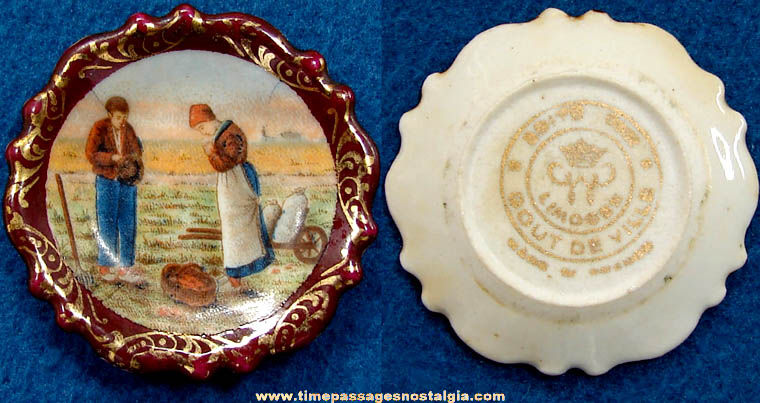Old Farming Couple Edite Par Gout De Ville Limoges Miniature Porcelain Plate