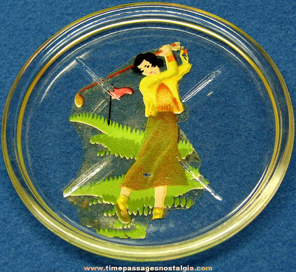 Colorful Old Lady Golfer Glass Drink Coaster