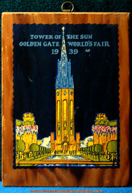 Colorful 1939 Golden Gate World's Fair Advertising Souvenir Wooden Plaque
