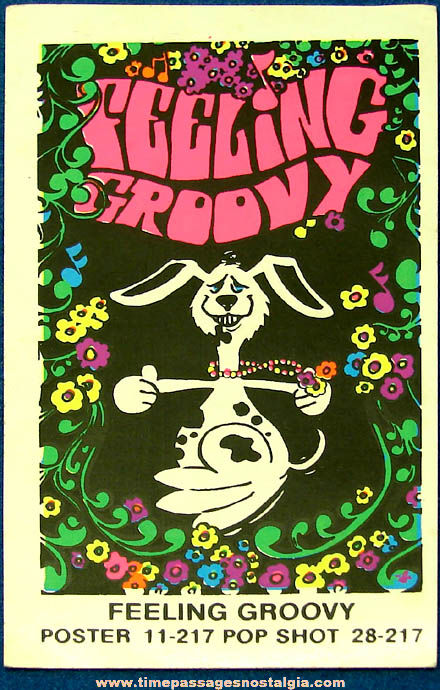 Colorful Old Unused Miniature Feeling Groovy Psychedelic Black Light Poster Sticker