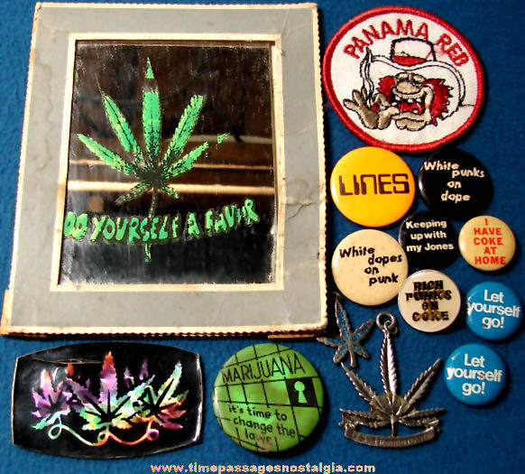 (14) Small Old Marijuana or Drug Related Novelty Items