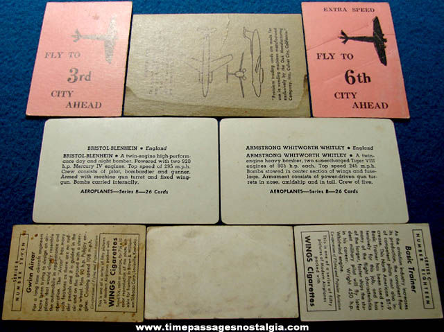 (8) Different Old Airplane Advertising Premium or Prize Trading Cards