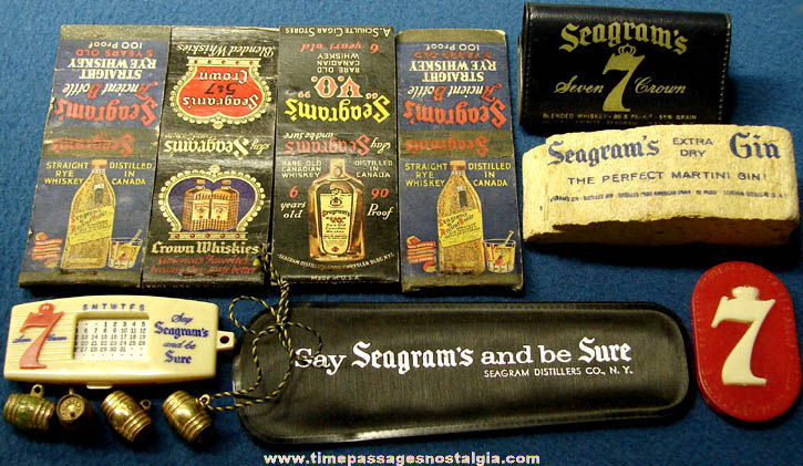 (13) Old Seagram's Whiskey & Gin Advertising Premium Items