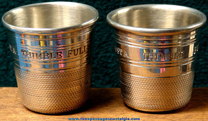 (2) Different Old Sheffield England Pewter Thimble Drink Shot Glasses