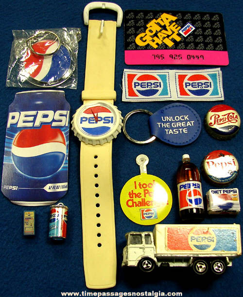 (15) Small Old & New Pepsi Cola Soda Advertising Items