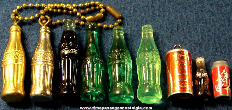 (9) Old Miniature Coca Cola Advertising Bottles & Cans