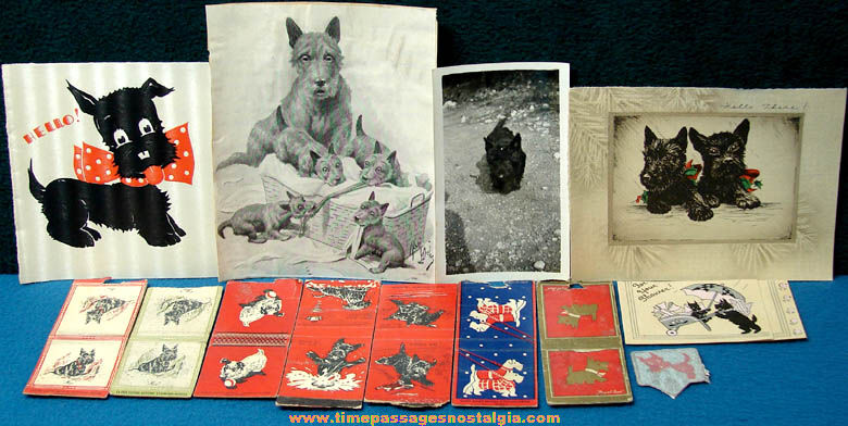 (13) Old Scottish Terrier or Scottie Dog Paper Items