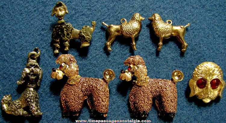 (7) Small Old Metal Poodle Dog Related Jewelry Items