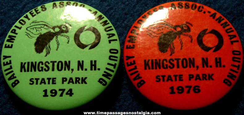(2) 1970s Kingston New Hampshire State Park Company Outing Advertising Pin Back Buttons