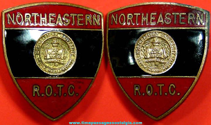 (2) Old Northeastern University U.S. Army R.O.T.C. Insignia Pins