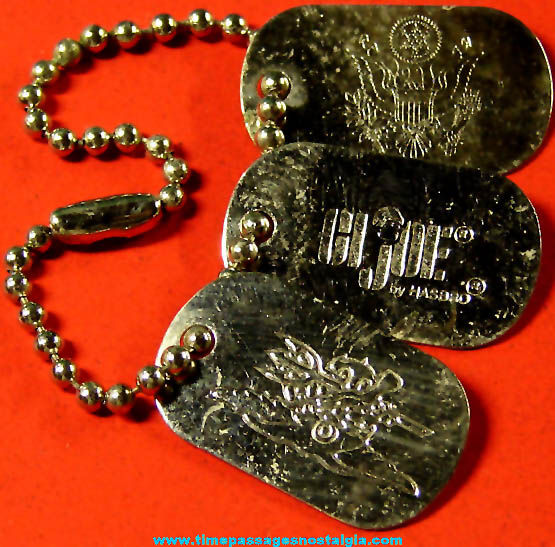 (3) Old Metal Hasbro G.I. Joe Miniature Toy Military Dog Tags