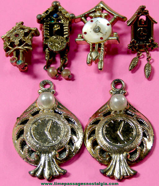 (6) Old Miniature Clock Shaped Novelty Jewelry Pins & Charms