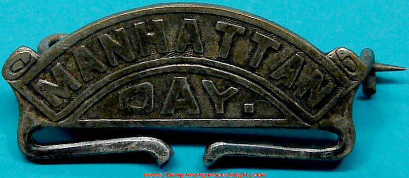 Old Metal Manhattan Day Ribbon or Badge Pin