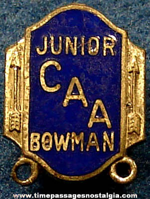 Old Enameled CAA Junior Bowman Archery Sports Award or Membership Pin