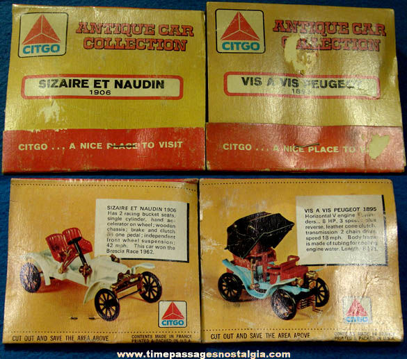 (2) Different Small Old Unopened Citgo Gas Station Advertising Premium Antique Model Car Kits
