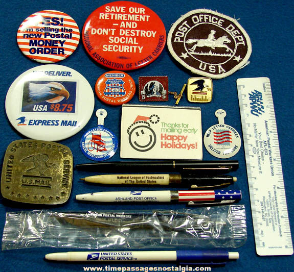 (17) Small United States Post Office & Postal Worker Related Items