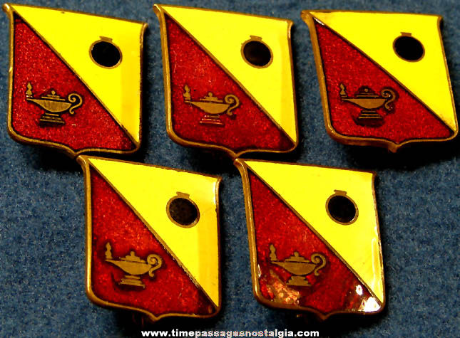 (5) Old United States Army Ordnance School Enameled Brass Uniform Insignia Pins
