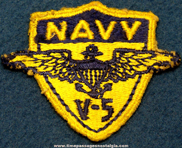 Old United States Navy V-5 Cadet Insignia Cloth Patch
