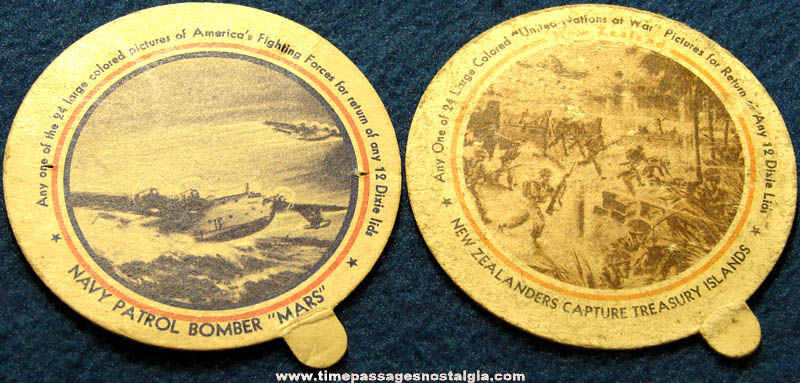 (2) World War II FroJoy Sealtest & Dixie Cup Ice Cream Premium Picture Lids