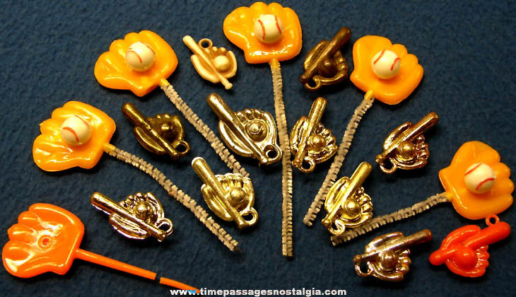 (17) Small Old Baseball Gum Ball Machine Prize Charms and Miniature Decorations