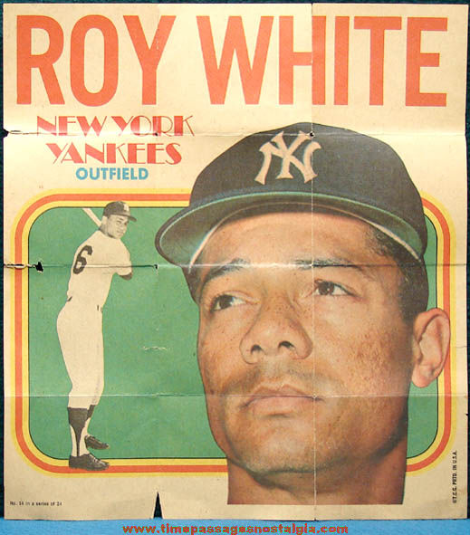 Old Roy White New York Yankees Topps Gum Baseball Player Picture