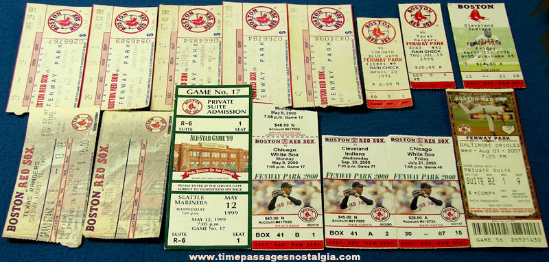 (15) 1990 - 2007 Boston Red Sox Baseball Team Advertising Ticket Stubs